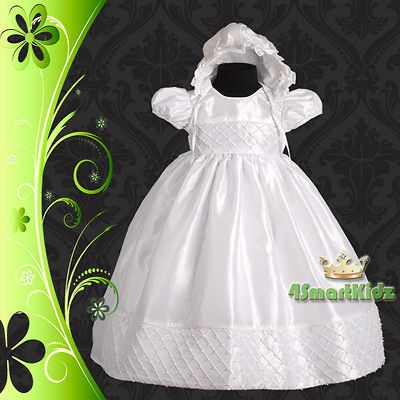 White Baby Girl Pearl Beading Christening Dress Gown+Bonnet Wedding