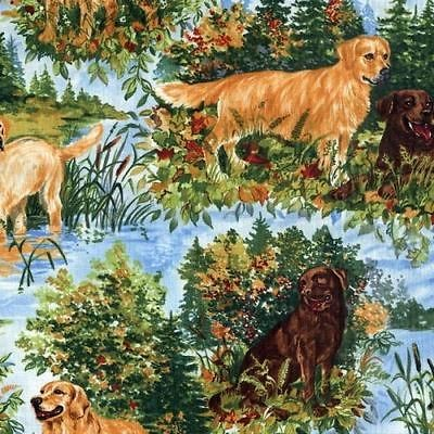 Golden Labrador Retriever Dog Quilt Fabric Canine Novelty Quilting