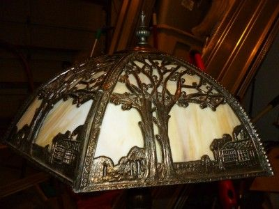 Antique Arts & Crafts Slag Glass Miller?SLAG GLASS LAMP SHADE