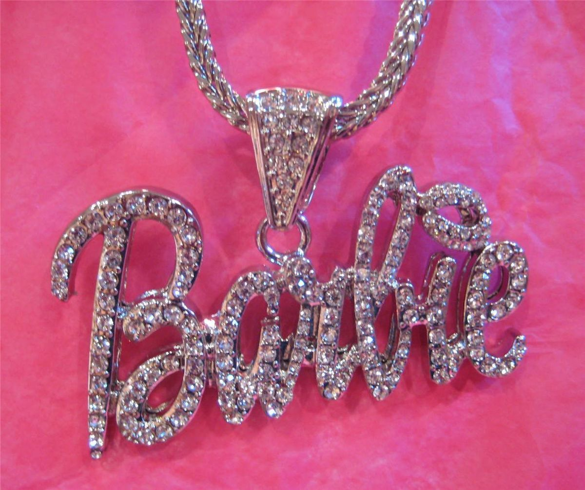 Iced Out Nicki Minaj Barbie Pendant Necklace Hip Hop