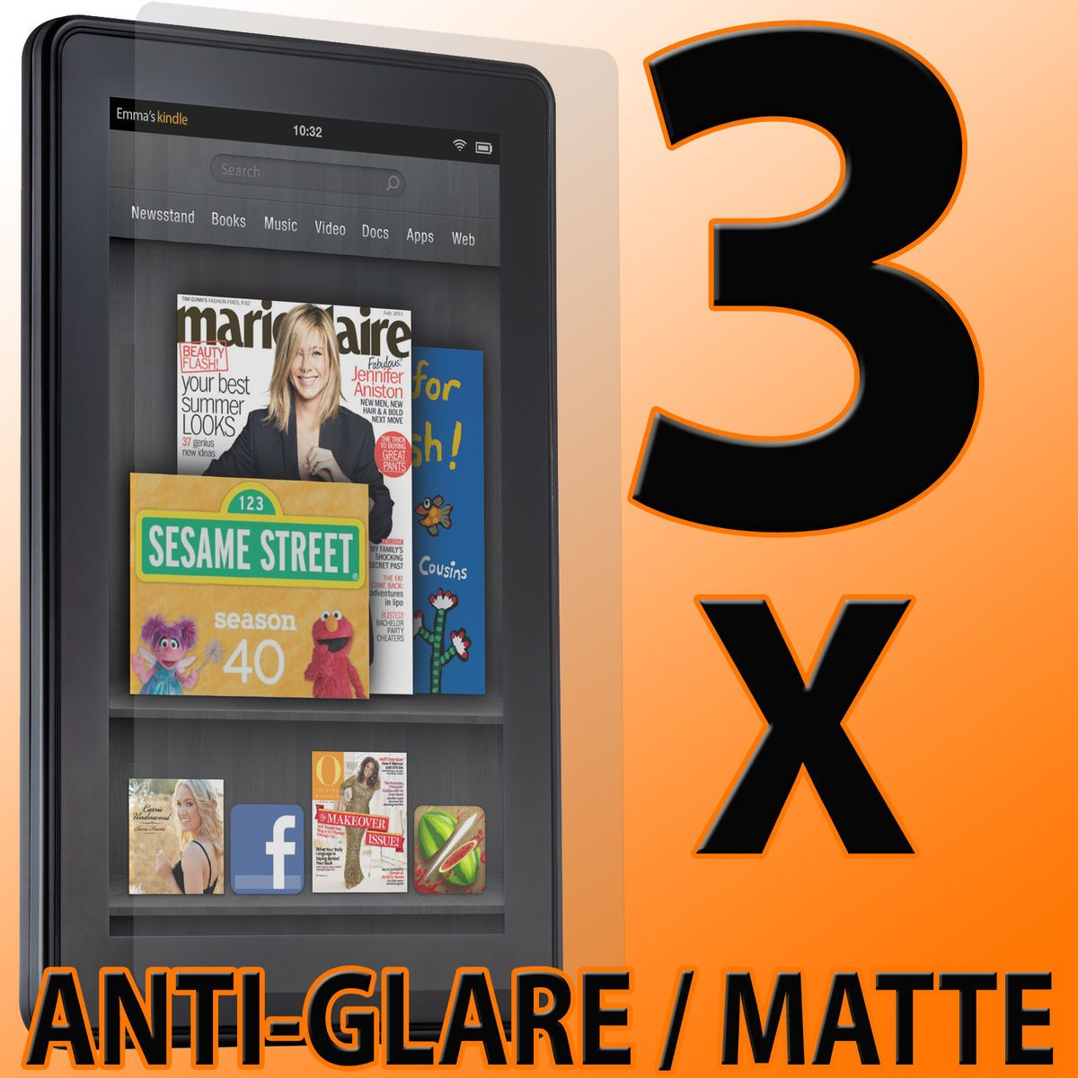 Matte LCD Screen Protectors Guard Savers for  Kindle Fire
