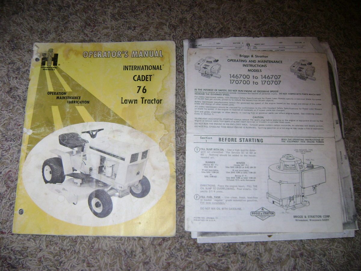 International Cub Cadet 76 Riding Lawn Mower Tractor Service Operators