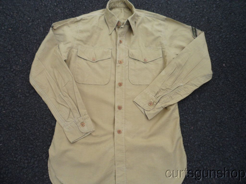 WWII USMC Marine Corps Khaki Uniform Shirt with Chevrons