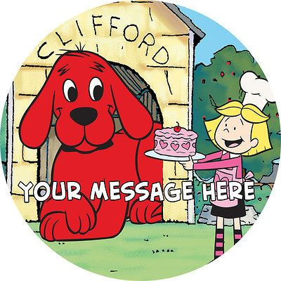 CLIFFORD THE RED DOG PERSONALISED EDIBLE ICING CAKE DECORATION TOPPER