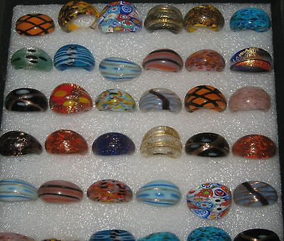 Beautiful Murano glass rings. New.Various patterns,sizes . 50%+off RRP